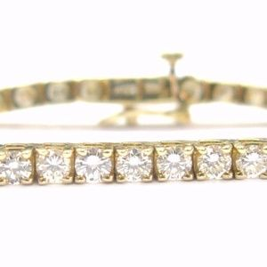 Jewelry - Fine Round Cut Diamond Tennis Bracelet Yellow Gol